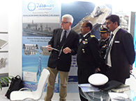 IG. S K GOYAL, DDG (M&M) OF COAST GUARD HEADQUARTERS, BEING EXPLAINED THE ADVANTAGES OF MATN'S STABILIZERS BY Mr MARTIN STARKENBURG